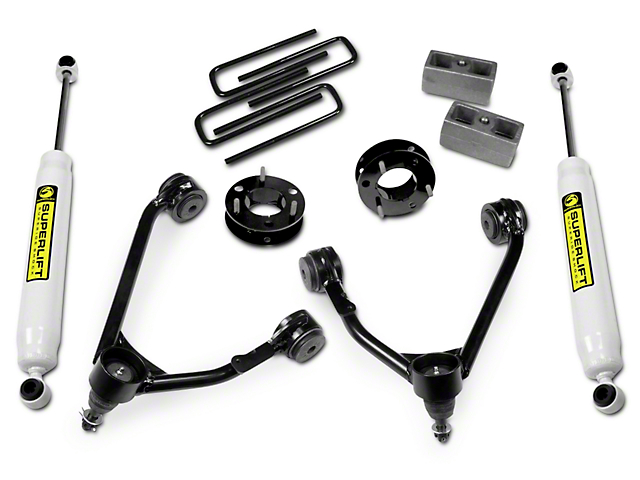 SuperLift 3.5 in. Upper Control Arm Leveling Kit w/ Superide Shocks (14-18 2WD Silverado 1500)