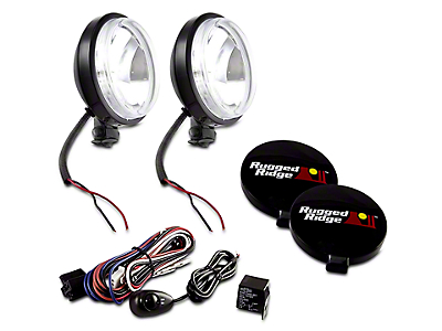 Rugged Ridge 6 in. Slim Halogen Fog Lights - Black - Pair