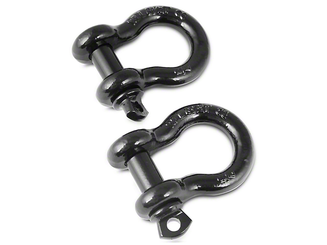 Rugged Ridge 7/8-Inch D-Ring Shackles; Black