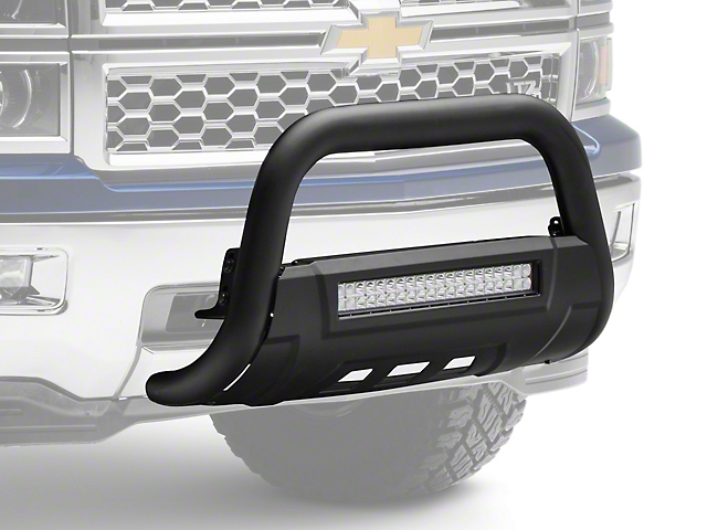 Barricade HD Bull Bar W/ Skid Plate U0026 20 In. LED Dual Row LED Light Bar    Textured Black (07 18 Silverado 1500)