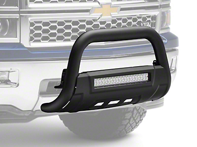 Barricade HD Bull Bar w/ Skid Plate & 20 in. LED Dual-Row LED Light Bar - Textured Black (07-18 Silverado 1500)