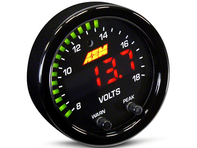 AEM Electronics X-Series Voltmeter Gauge; Electrical (Universal Fitment)