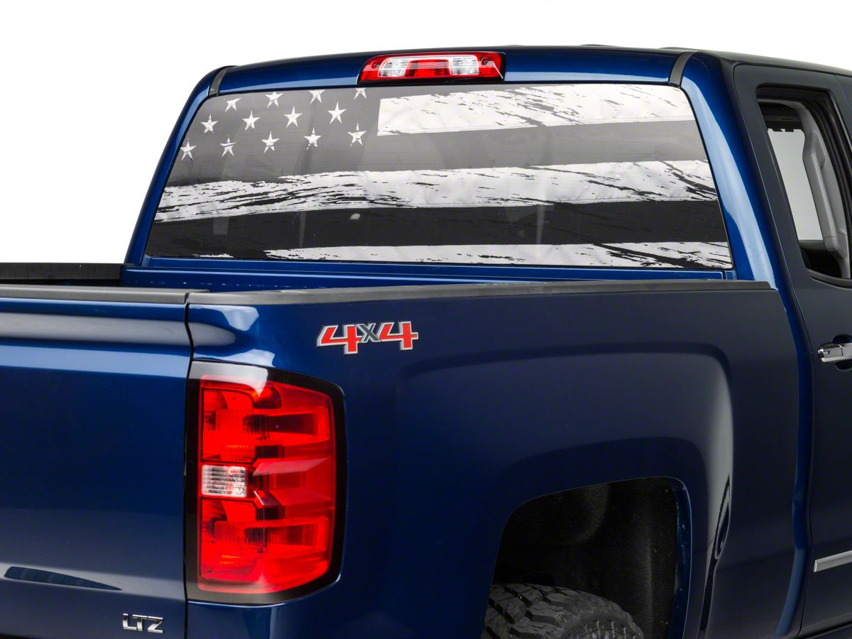 Truck Back Window Decals >> Perforated Distressed Flag Rear Window Decal 07 19 Silverado 1500