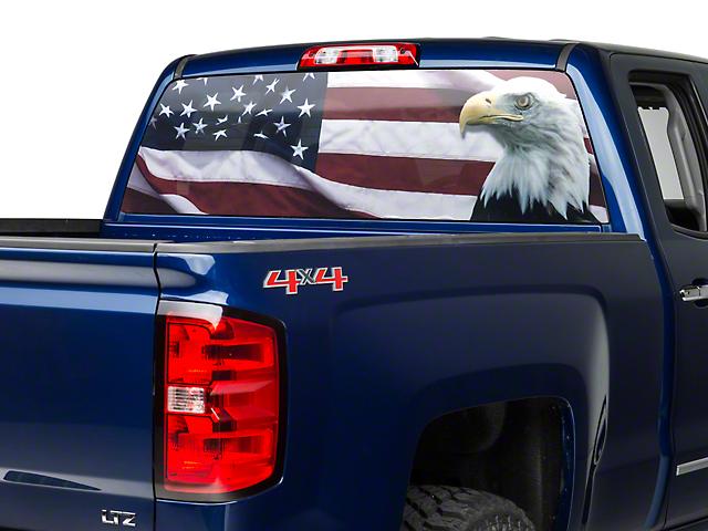 Truck Back Window Decals >> Perforated Flag Eagle Rear Window Decal 07 19 Silverado 1500