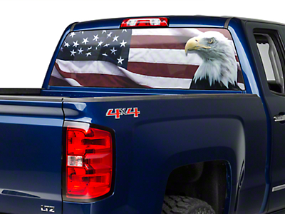 Perforated Flag & Eagle Rear Window Decal (07-18 Silverado 1500)