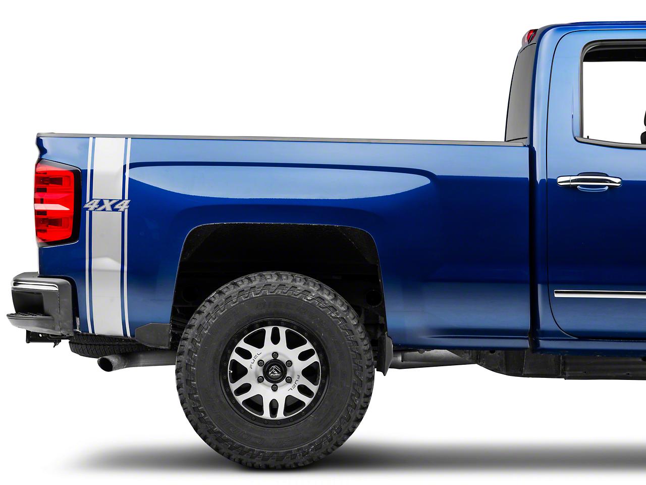 Silver Rear Vertical Stripe w/ 4x4 Logo (07-18 Silverado 1500)