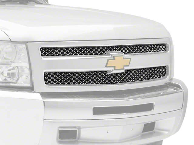 Black Horse Off Road Mesh Upper Overlay Grille - Chrome (07-13 Silverado 1500 LS, LT)