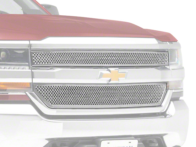 Black Horse Off Road Mesh Upper Overlay Grille - Chrome (16-18 Silverado 1500 LS, LT)