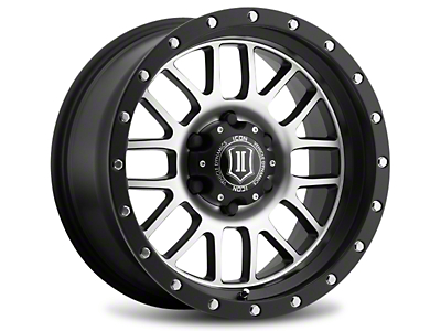 ICON Vehicle Dynamics Alpha Satin Black Machined 6-Lug Wheel - 17x8.5 (99-18 Silverado 1500)