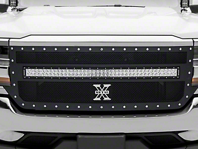 T-REX Torch Series Upper Replacement Grille w/ 40 in. LED Light Bar - Black (16-18 Silverado 1500)