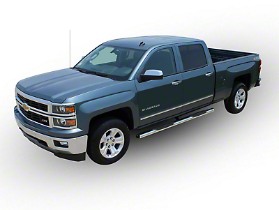 Raptor Series 4 in. Cab Length Oval Side Step Bars - Polished Stainless - Rocker Panel Mount (07-13 Silverado 1500)