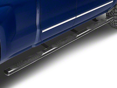 Raptor Series 4 in. Oval Wheel to Wheel Side Step Bars - Black - Rocker Panel Mount (14-18 Silverado 1500 Double Cab, Crew Cab)