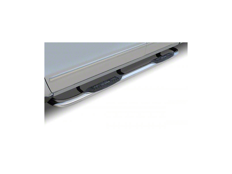 Raptor Series 3 in. Round Nerf Rocker Mount Side Step Bars - Polished Stainless (14-18 Silverado 1500 Double Cab, Crew Cab)