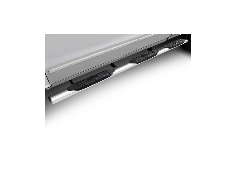 Raptor Series 4 in. Oval Wheel to Wheel Rocker Mount Side Step Bars - Polished Stainless (14-18 Silverado 1500 Double Cab, Crew Cab)