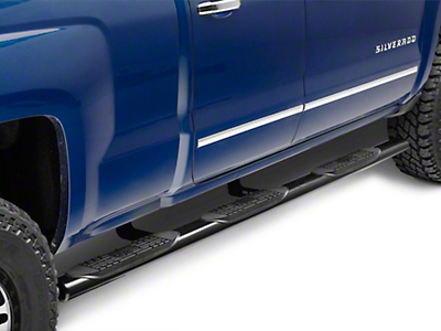 Raptor Series 4 in. Oval Wheel to Wheel Side Step Bars - Black - Body Mount (14-18 Silverado 1500 Double Cab, Crew Cab w/ Standard Box)