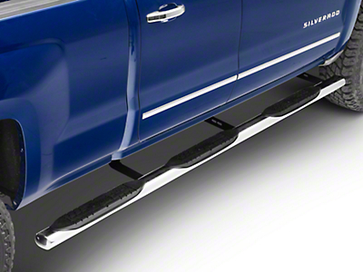 Raptor Series 4 in. Oval Wheel to Wheel Side Step Bars - Polished Stainless - Body Mount (14-18 Silverado 1500 Double Cab, Crew Cab w/ Standard Bed)