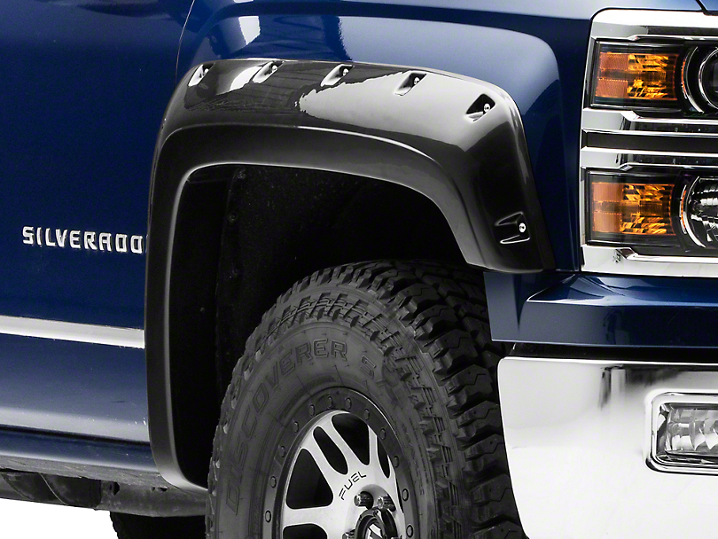 Black Horse Off Road Pocket Style Fender Flares - Matte Black (14-18 Silverado 1500 Crew Cab w/ Short Box)