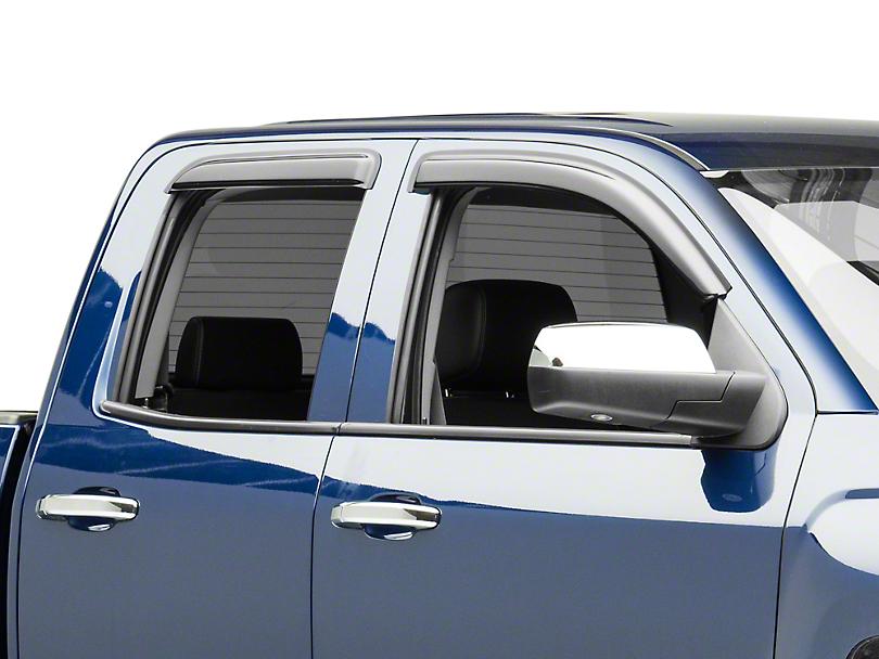 Black Horse Off Road Tape-On Smoke Rain Guards - Front & Rear (14-18 Silverado 1500 Double Cab, Crew Cab)