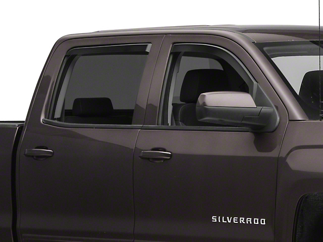 Black Horse Off Road In-Channel Smoke Rain Guards - Front & Rear (14-18 Silverado 1500 Crew Cab)