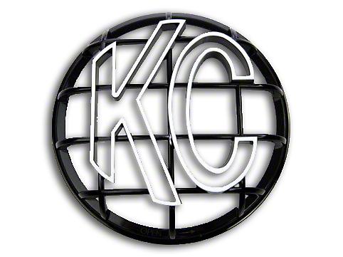 KC HiLiTES 6 in. Round Stone Guard for Apollo Series - Black w/ White KC Logo (07-18 Silverado 1500)
