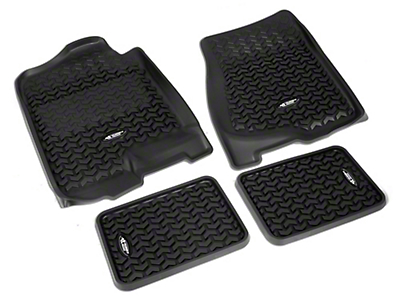 Rugged Ridge All-Terrain Front & 2nd Row Floor Liners - Black (07-13 Silverado 1500 Extended Cab, Crew Cab)