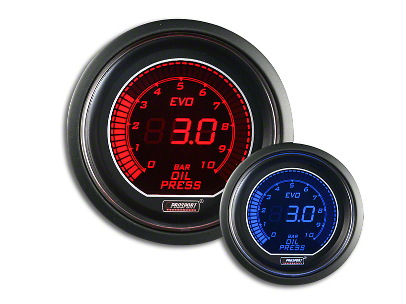 Prosport Dual Color Evo 0-10 BAR Oil Pressure Gauge; Electrical; Red/Blue (Universal Fitment)