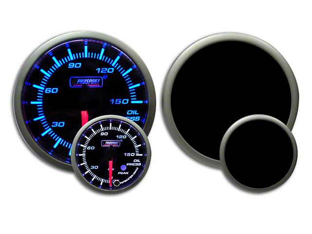 Prosport 52mm Premium Series Oil Pressure Gauge; Electrical; 0-150 PSI; Blue/White (Universal Fitment)