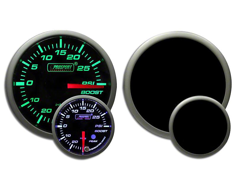 Prosport Dual Color Premium White Pointer Boost Gauge - Green/White (99-18 Silverado 1500)