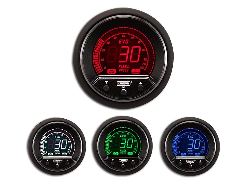 Prosport 52mm Premium EVO Series Fuel Pressure Gauge; Electrical; Blue/Red/Green/White (Universal Fitment)