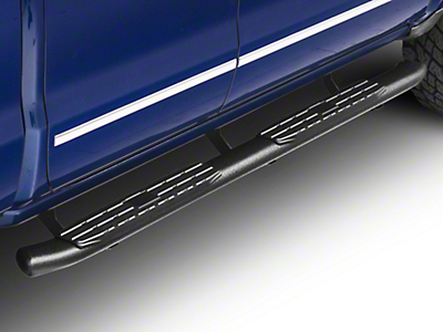 Steel Craft 4X Series 4 in. Oval Side Step Bars - Black - Rocker Panel Mount (14-18 Silverado 1500 Double Cab, Crew Cab)