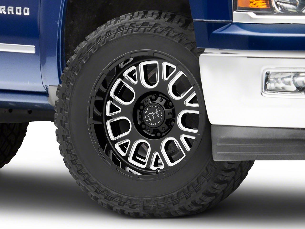 Black Rhino Pismo Gloss Black Milled 6-Lug Wheel - 20x9.5 (99-18 Silverado 1500)