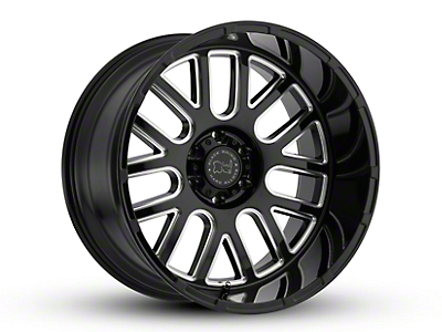 Black Rhino Pismo Gloss Black Milled 6-Lug Wheel - 22x12 (99-18 Silverado 1500)