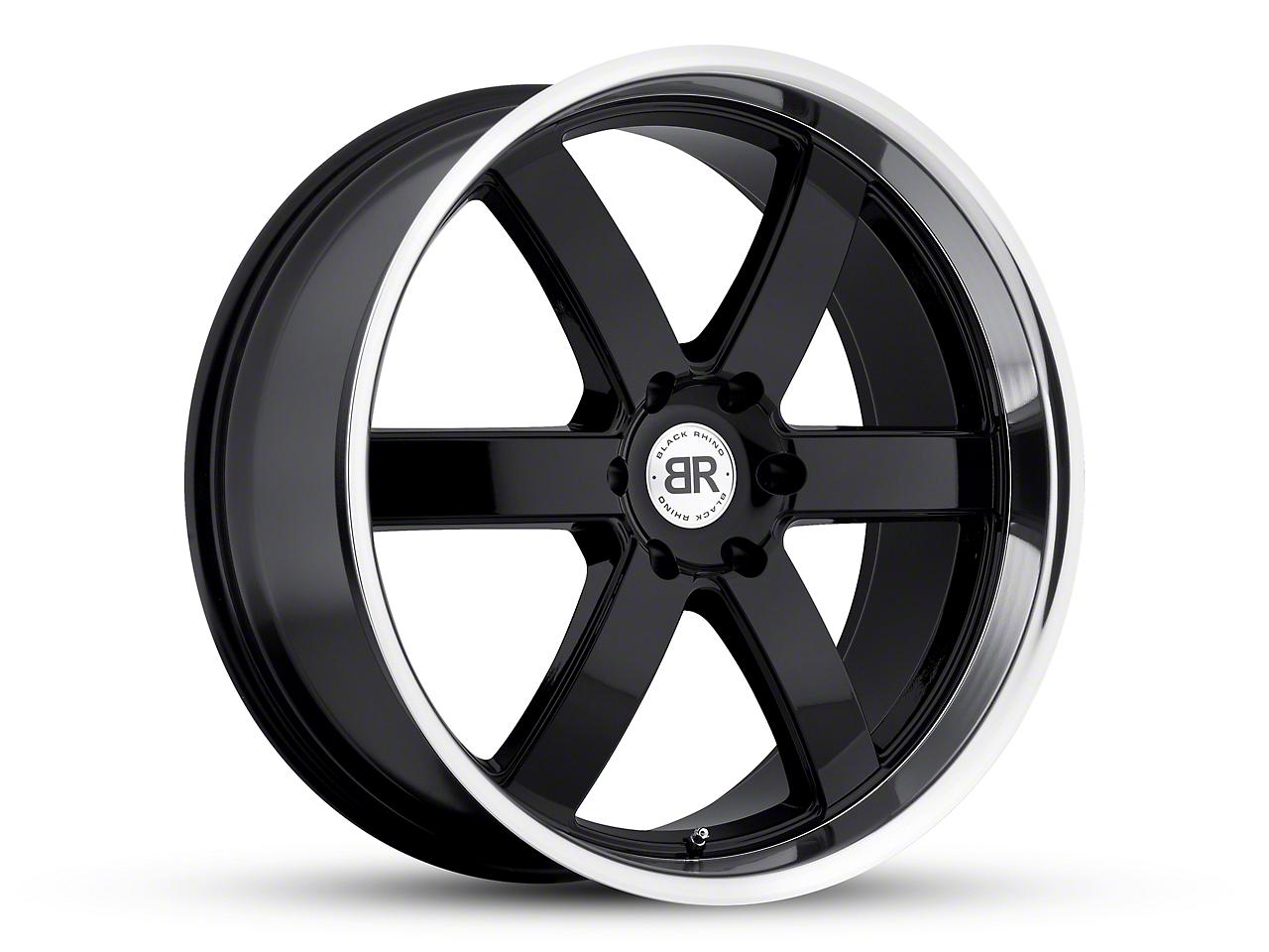 Black Rhino Pondora Gloss Black Machined 6-Lug Wheel - 20x8.5 (99-18 Silverado 1500)