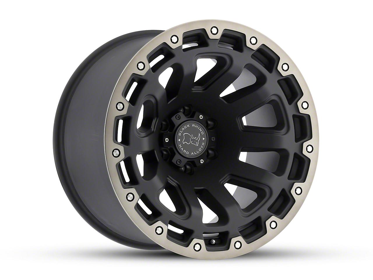 Black Rhino Razorback Matte Black Machined 6-Lug Wheel - 17x9 (99-18 Silverado 1500)