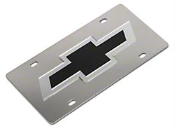 speedform stainless steel license plate w/ black bowtie logo (99-19  silverado 1500