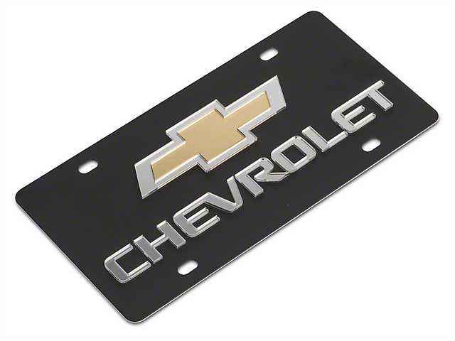 SpeedForm Carbon Steel License Plate with Gold Bowtie Chervolet Logo (Universal Fitment)