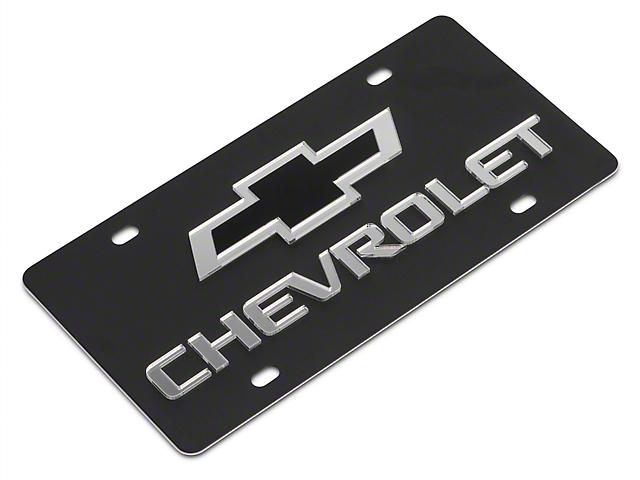 SpeedForm Carbon Steel License Plate with Black Bowtie Chervolet Logo (Universal Fitment)