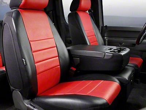 Fia Custom Fit Leatherlite Front Seat Cover - Red (07-13 Silverado 1500 w/ Bench Seat)