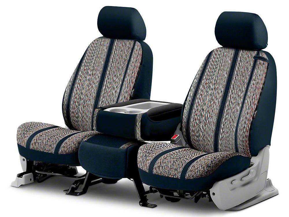 Fia Custom Fit Saddle Blanket Front Seat Covers - Navy (14-18 Silverado 1500 w/ Bucket Seats)