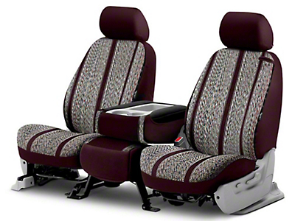 Fia Custom Fit Saddle Blanket Front Seat Covers - Wine (14-18 Silverado 1500 w/ Bucket Seats)