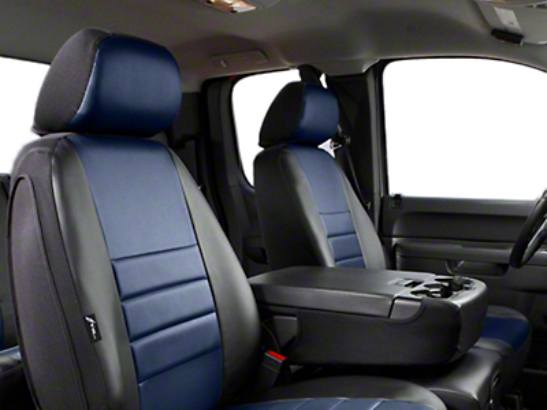 Fia Custom Fit Leatherlite Front Seat Covers - Blue (07-13 Silverado 1500 w/ Bucket Seats)