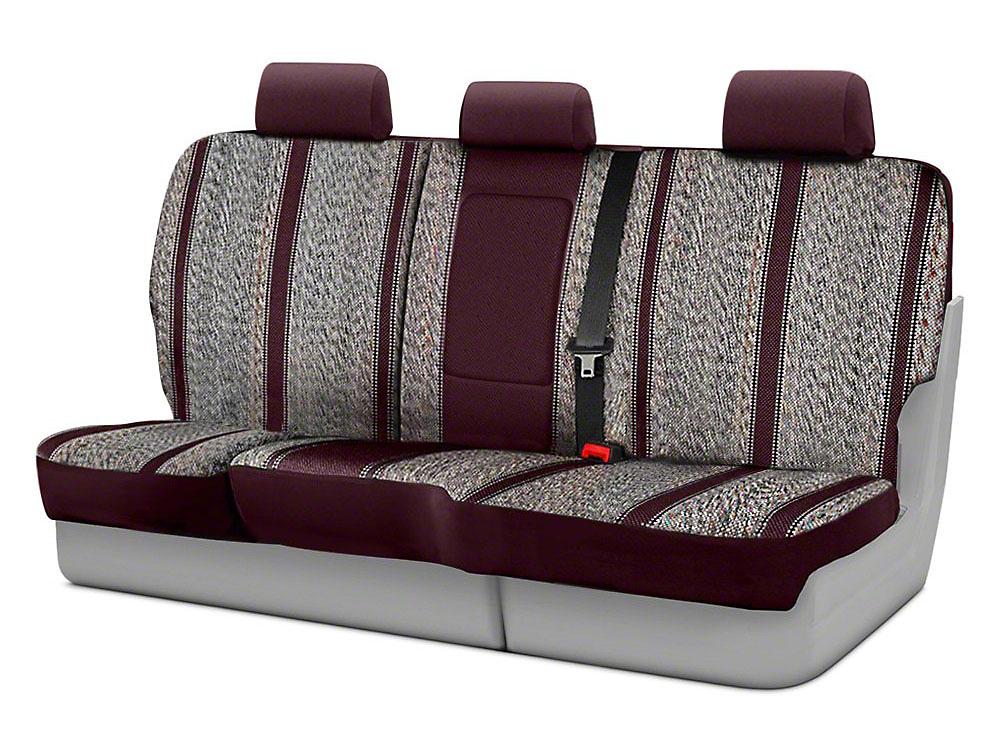 Fia Custom Fit Saddle Blanket Rear Seat Cover - Wine (14-18 Silverado 1500 Double Cab, Crew Cab)