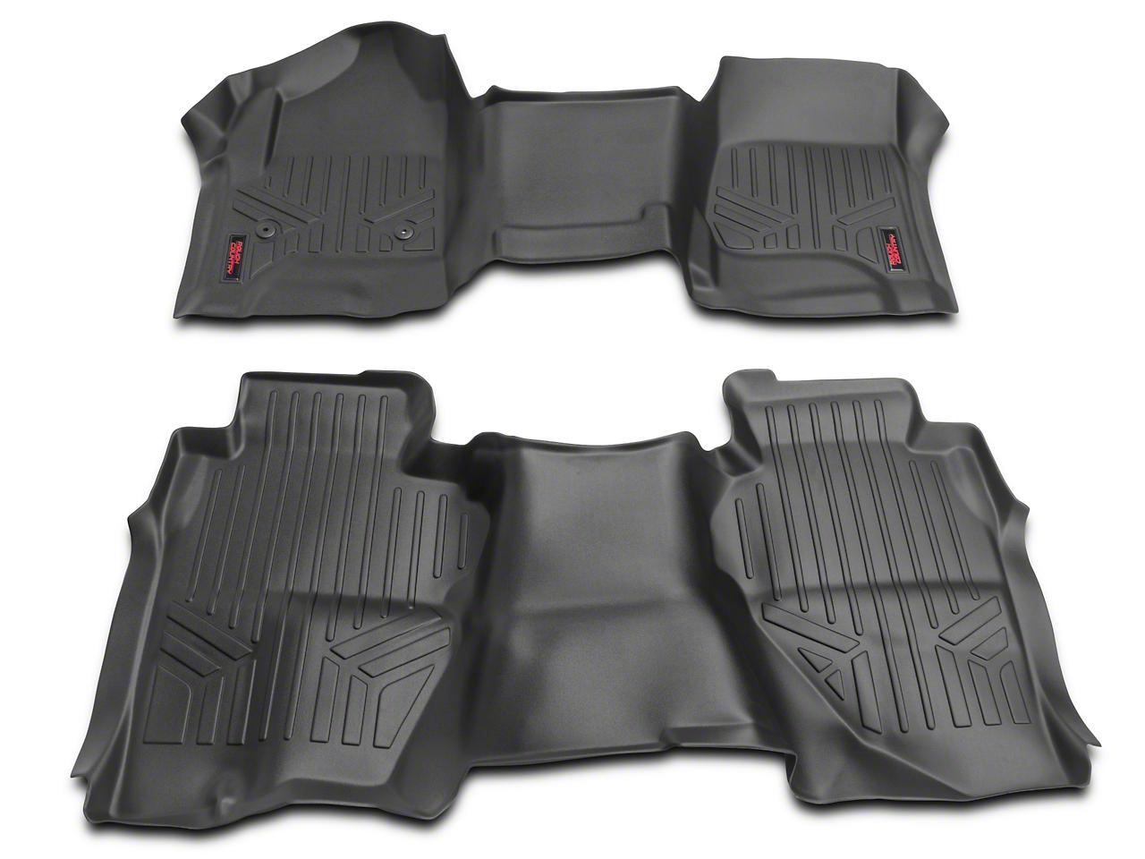 Rough Country Heavy Duty Front & Rear Floor Mats - Black (14-18 Silverado 1500 Double Cab)