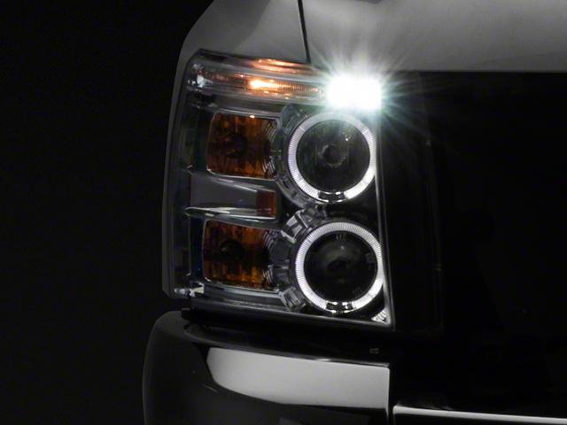 LED Halo Projector Headlights; Chrome (07-13 Silverado 1500)