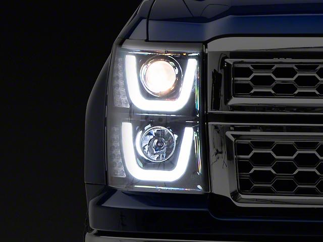 Dual Halo Projector Headlights; Gloss Black Housing; Smoked Lens (14-15 Silverado 1500)