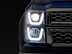 Dual Halo Projector Headlights; Smoked (14-15 Silverado 1500)