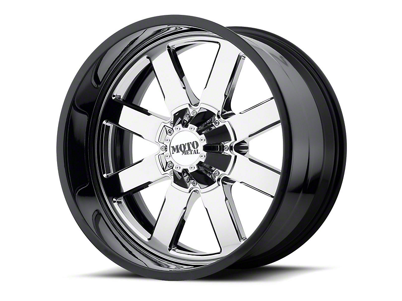 Moto Metal MO200 Chrome w/ Gloss Black Milled Lip 6-Lug Wheel - 22x12; -44mm Offset (99-19 Silverado 1500)