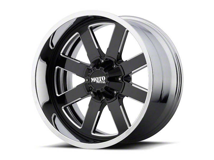 Moto Metal MO200 Gloss Black Milled w/ Chrome Lip 6-Lug Wheel - 22x10 (99-19 Silverado 1500)