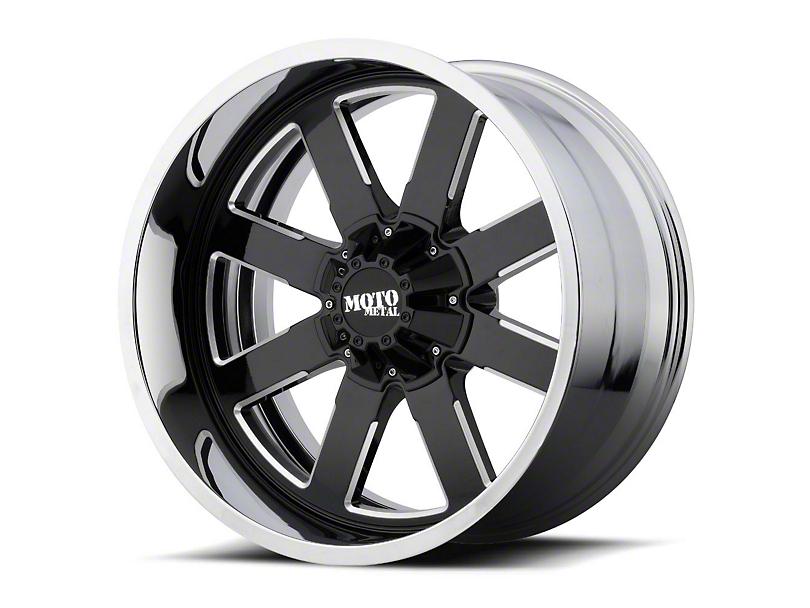 Moto Metal MO200 Gloss Black Milled w/ Chrome Lip 6-Lug Wheel - 22x12; -44mm Offset (99-19 Silverado 1500)