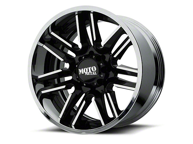 Moto Metal MO202 Gloss Black Machined w/ Chrome Lip 6-Lug Wheel - 22x10; -18mm Offset (99-19 Silverado 1500)